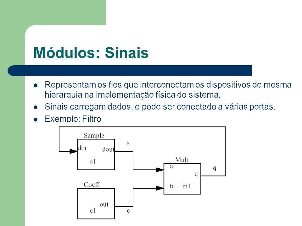 Módulos: Sinais Representam os fios que interconectam os dispositivos de mesma hierarquia na implementação física do sistema.