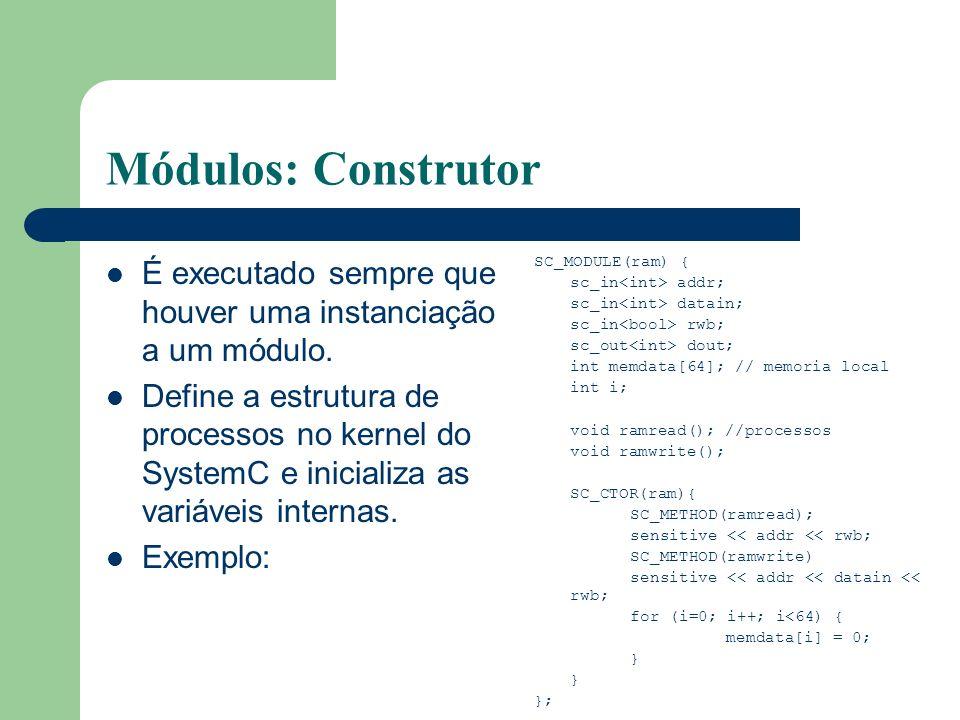 Módulos: Construtor É executado sempre que houver uma instanciação a um módulo.