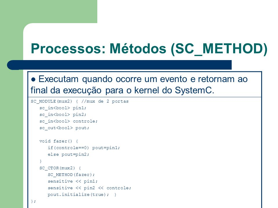 Processos: Métodos (SC_METHOD)