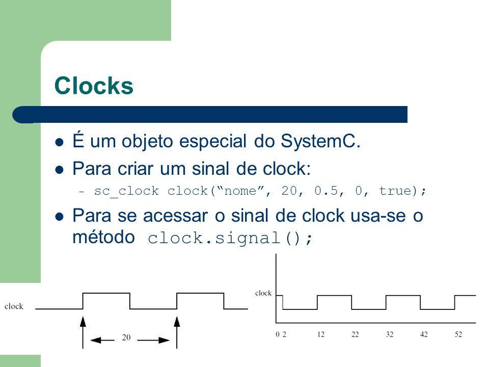 Clocks É um objeto especial do SystemC. Para criar um sinal de clock:
