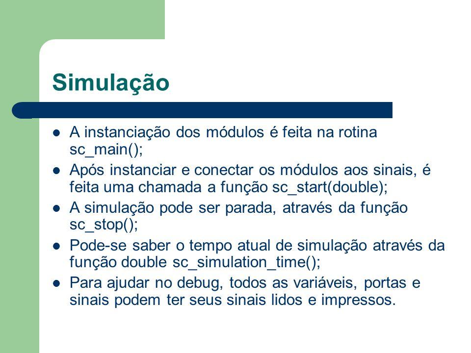 Simulação A instanciação dos módulos é feita na rotina sc_main();