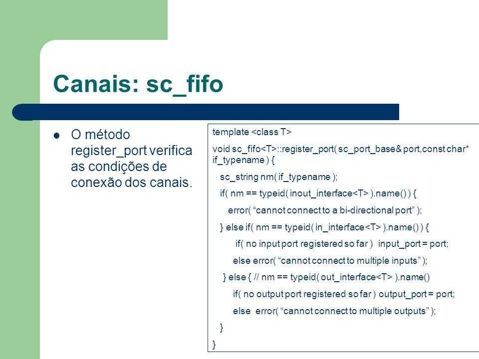 Canais: sc_fifo O método register_port verifica as condições de conexão dos canais. template <class T>