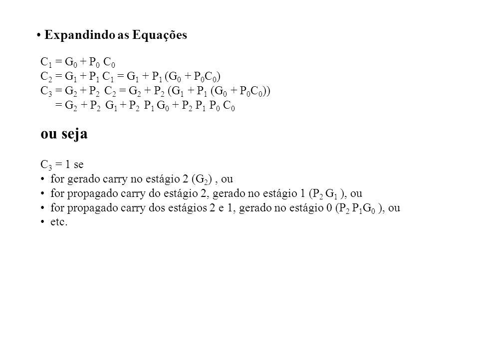 ou seja Expandindo as Equações C1 = G0 + P0 C0