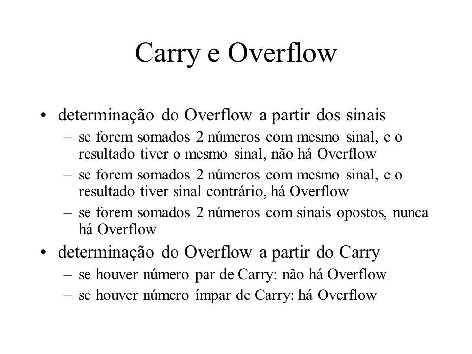 Carry e Overflow determinação do Overflow a partir dos sinais