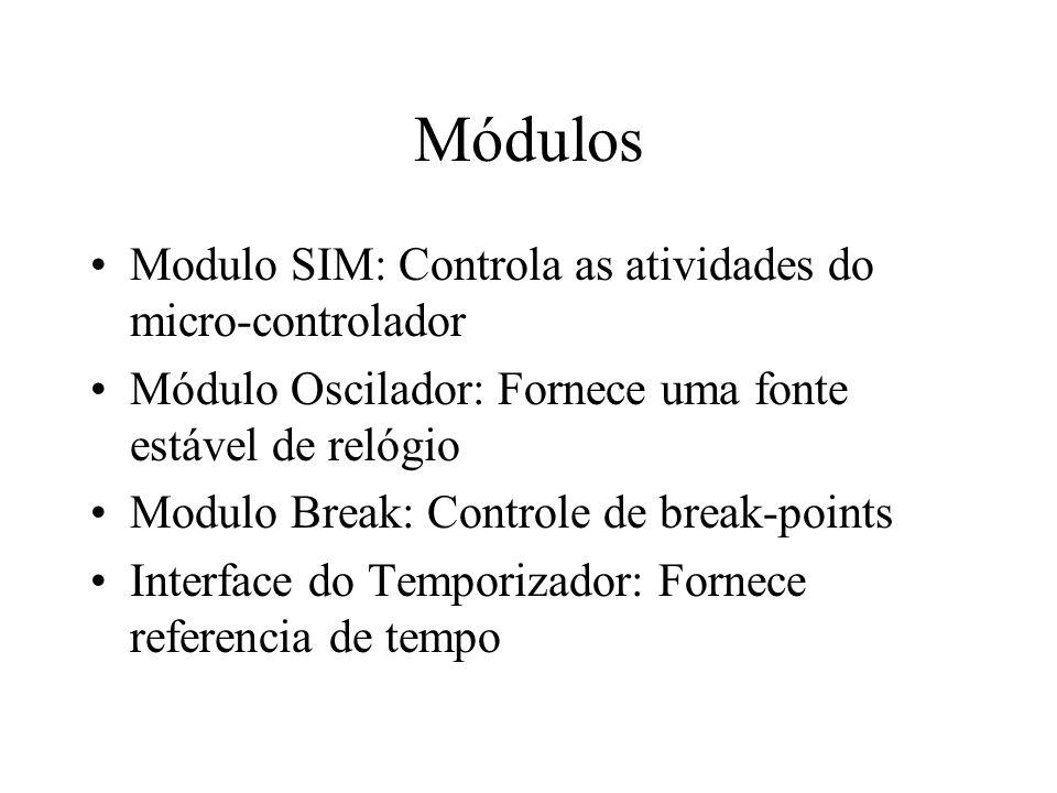 Módulos Modulo SIM: Controla as atividades do micro-controlador