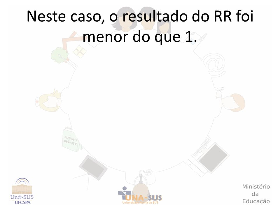 Neste caso, o resultado do RR foi menor do que 1.