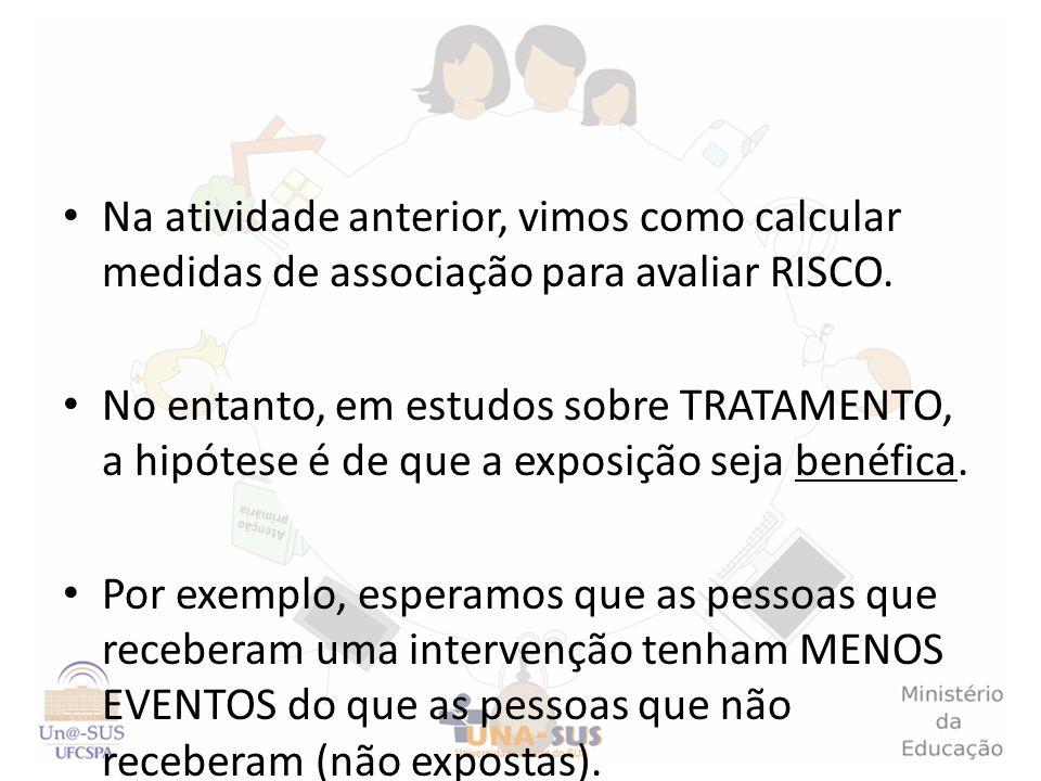 Na atividade anterior, vimos como calcular medidas de associação para avaliar RISCO.