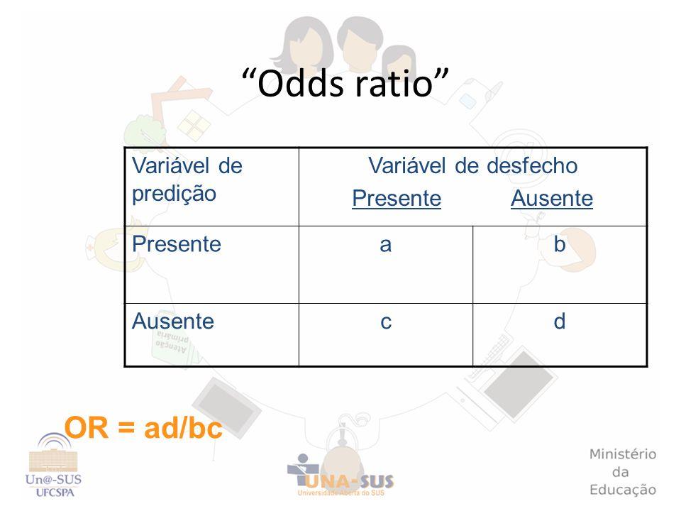 Odds ratio OR = ad/bc Variável de predição Variável de desfecho