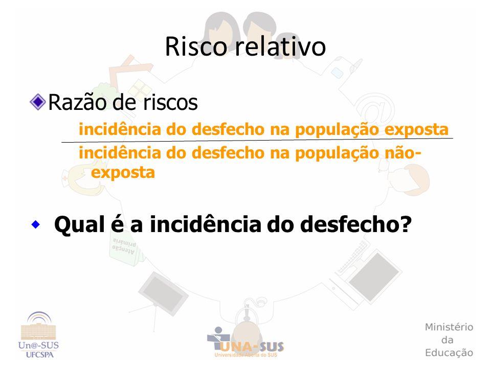 Risco relativo Razão de riscos Qual é a incidência do desfecho