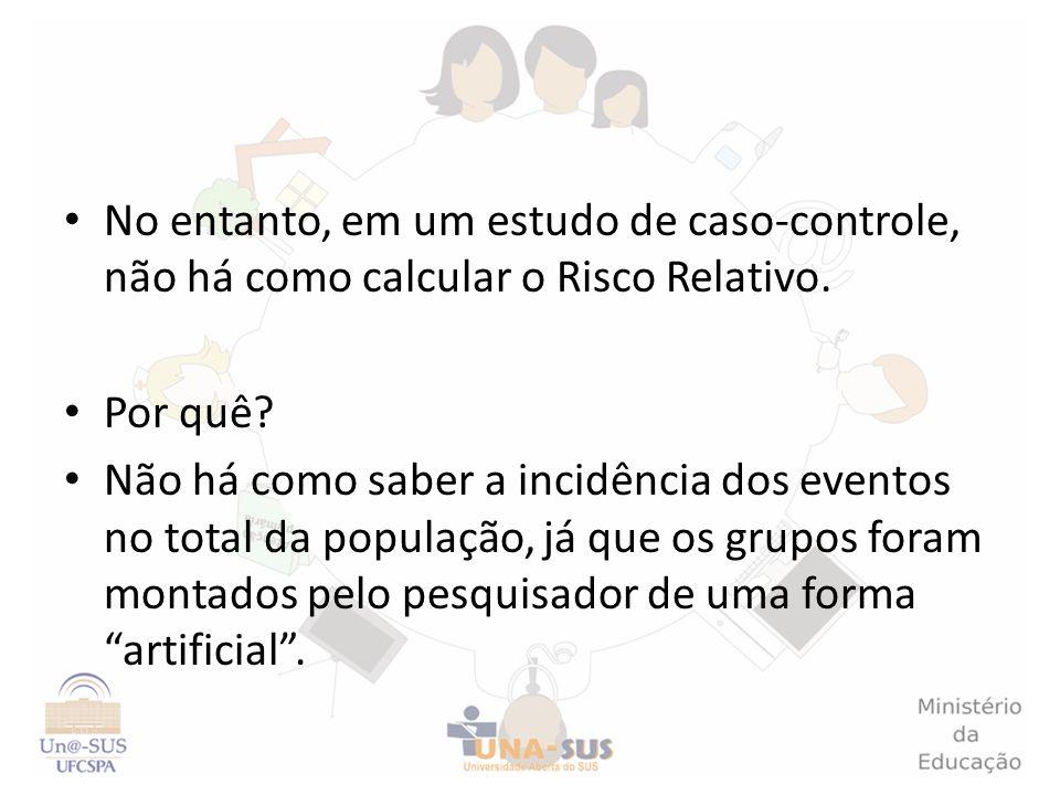No entanto, em um estudo de caso-controle, não há como calcular o Risco Relativo.