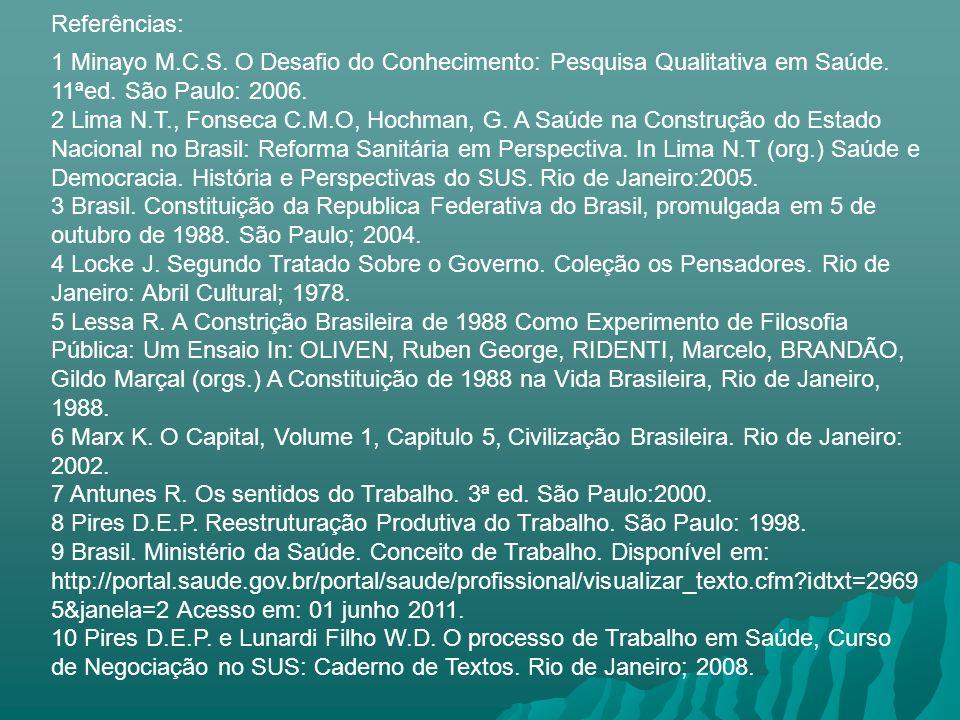 Referências:1 Minayo M.C.S. O Desafio do Conhecimento: Pesquisa Qualitativa em Saúde. 11ªed. São Paulo: 2006.