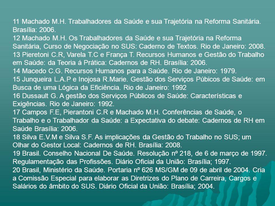 11 Machado M.H. Trabalhadores da Saúde e sua Trajetória na Reforma Sanitária. Brasília: 2006.