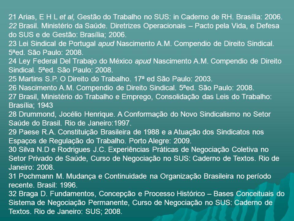 21 Arias, E H L et al, Gestão do Trabalho no SUS: in Caderno de RH