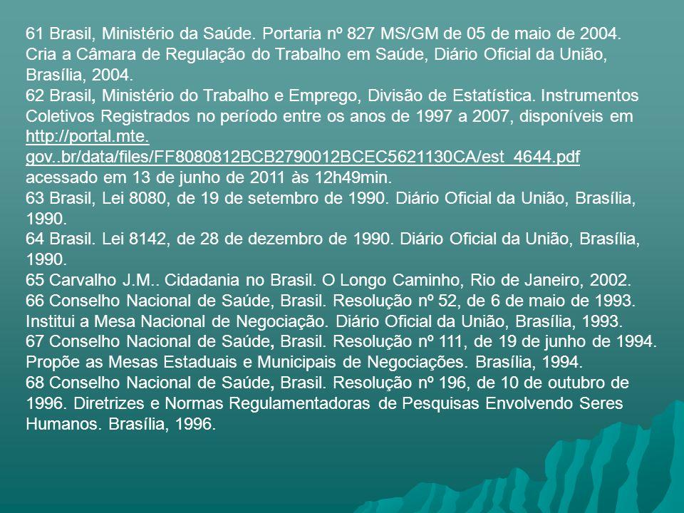 61 Brasil, Ministério da Saúde