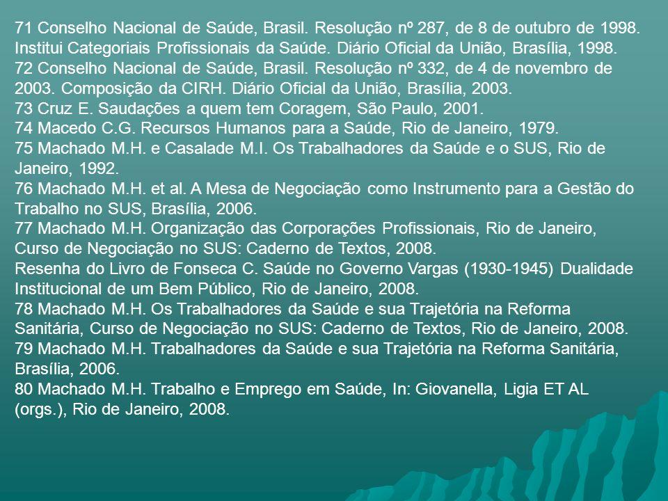 71 Conselho Nacional de Saúde, Brasil