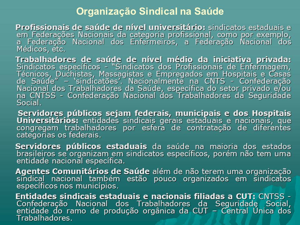 Organização Sindical na Saúde