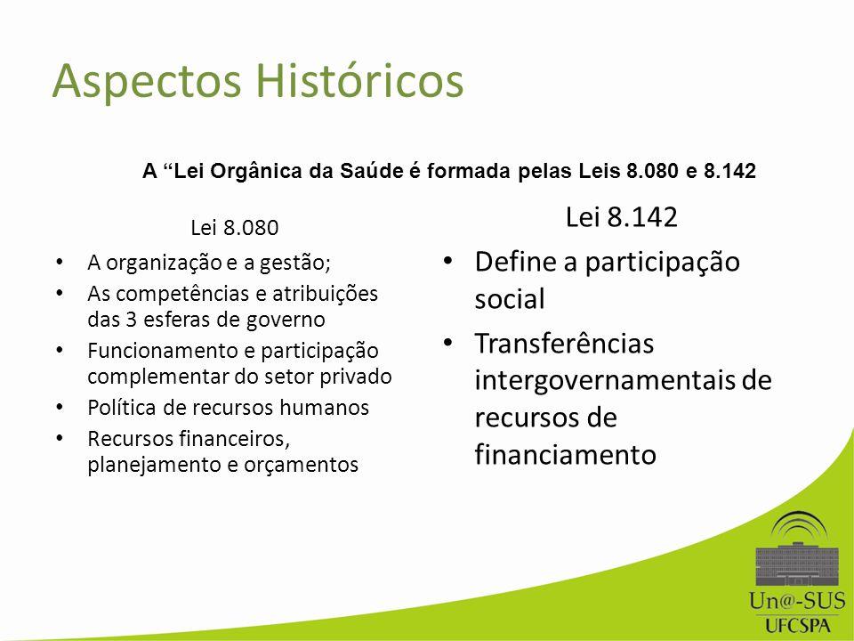 Aspectos Históricos Lei 8.142 Define a participação social