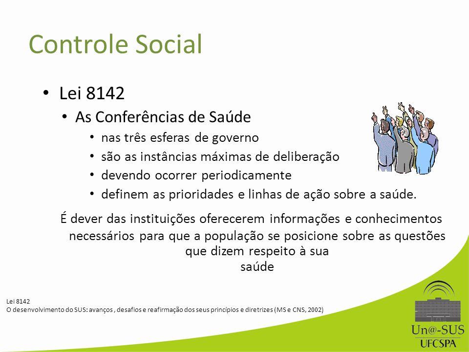 Controle Social Lei 8142. As Conferências de Saúde. nas três esferas de governo. são as instâncias máximas de deliberação.