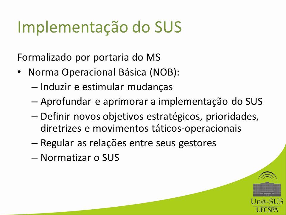 Implementação do SUS Formalizado por portaria do MS