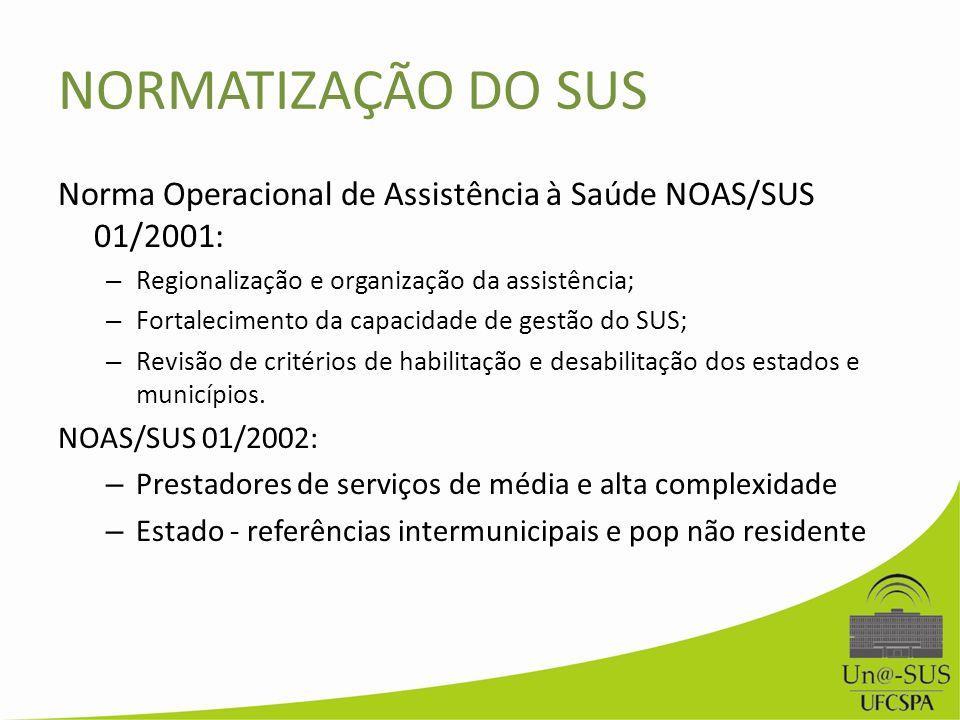 NORMATIZAÇÃO DO SUS Norma Operacional de Assistência à Saúde NOAS/SUS 01/2001: Regionalização e organização da assistência;