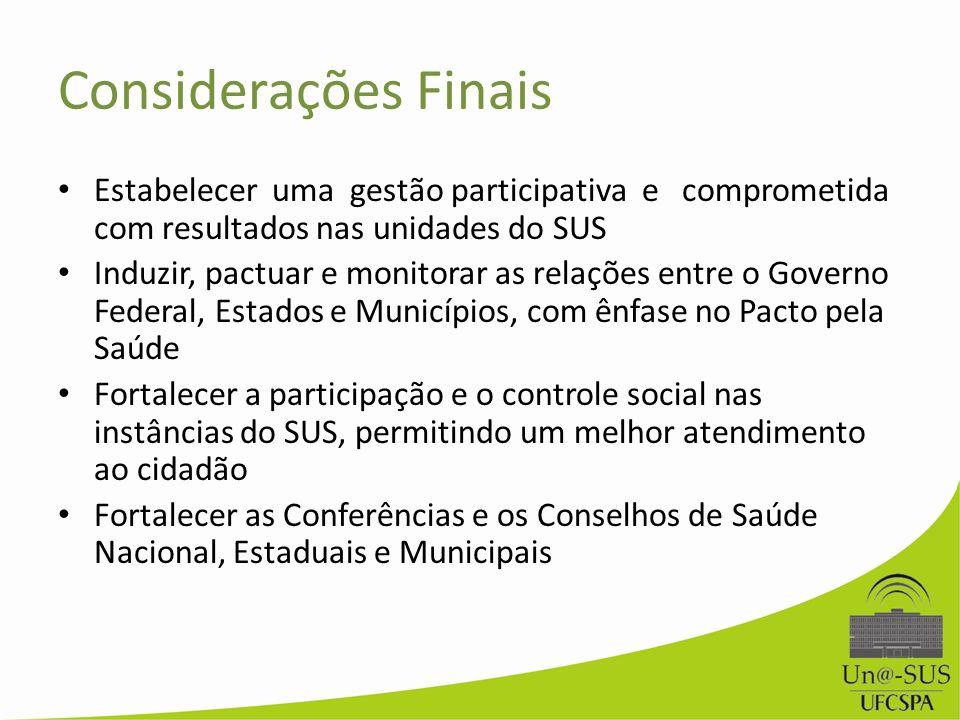 Considerações Finais Estabelecer uma gestão participativa e comprometida com resultados nas unidades do SUS.