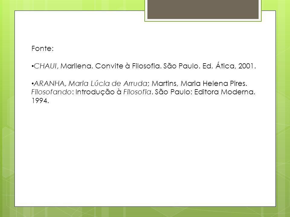 Fonte: CHAUI, Marilena. Convite à Filosofia. São Paulo. Ed. Ática, 2001.