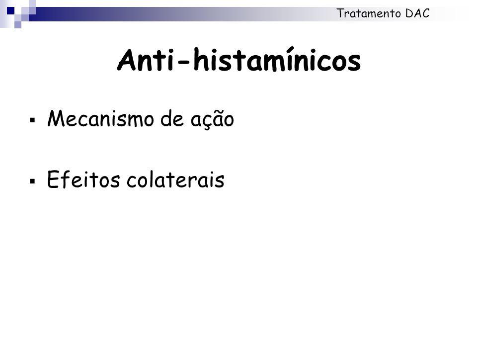 Tratamento DAC Anti-histamínicos Mecanismo de ação Efeitos colaterais