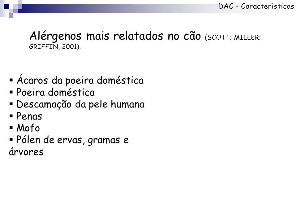 Alérgenos mais relatados no cão (SCOTT; MILLER; GRIFFIN, 2001).
