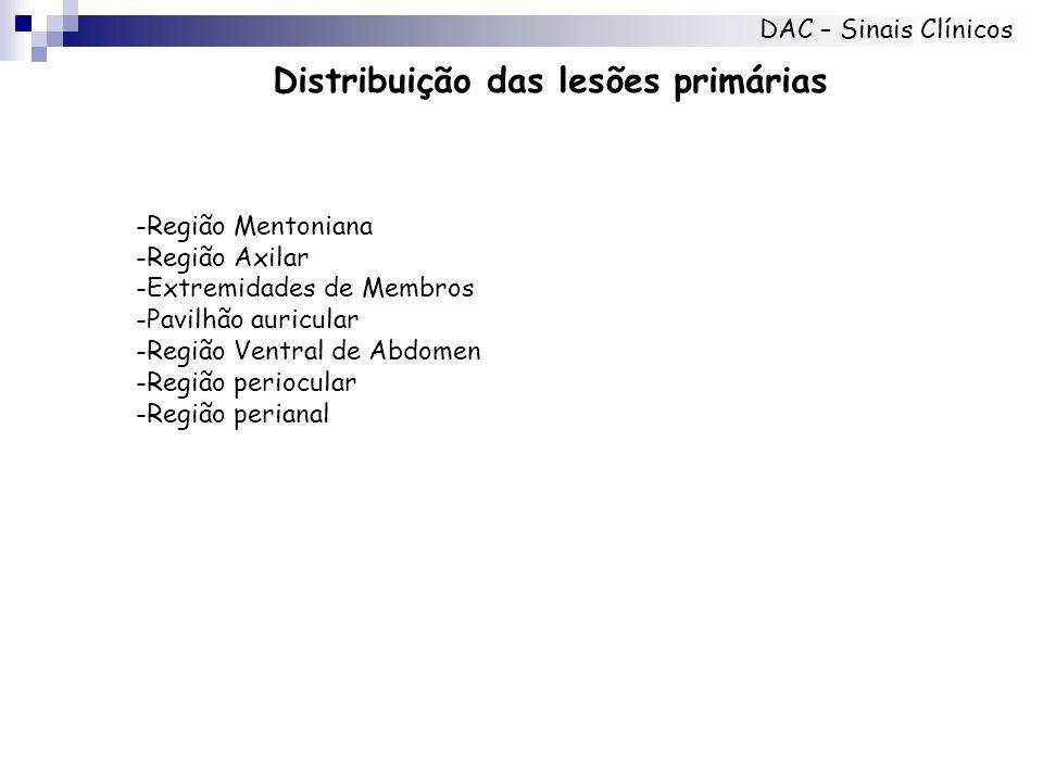 Distribuição das lesões primárias