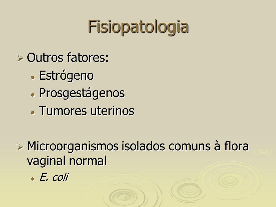 Fisiopatologia Outros fatores: Estrógeno Prosgestágenos