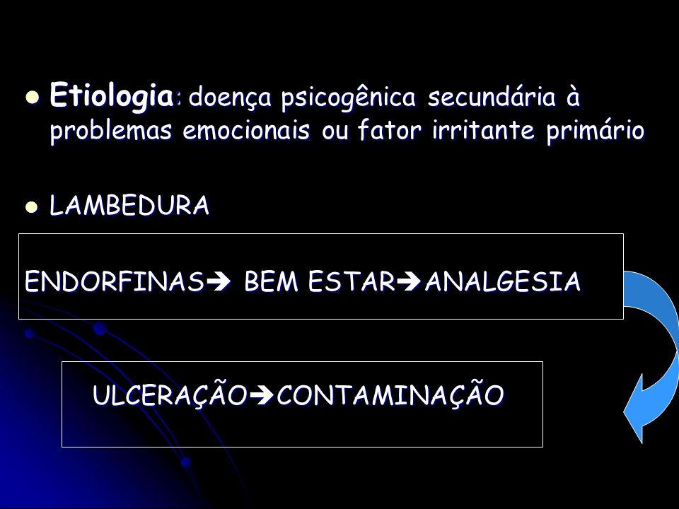 Etiologia: doença psicogênica secundária à problemas emocionais ou fator irritante primário