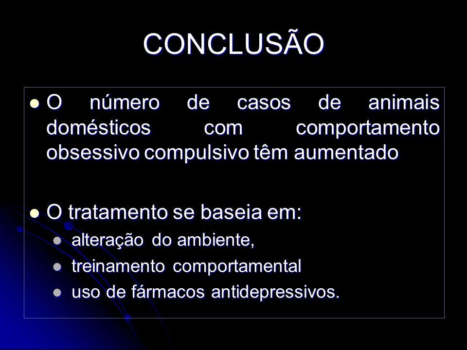 CONCLUSÃO O número de casos de animais domésticos com comportamento obsessivo compulsivo têm aumentado.