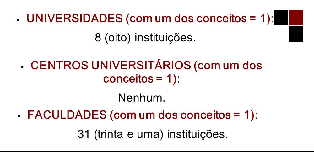 UNIVERSIDADES (com um dos conceitos = 1): 8 (oito) instituições.
