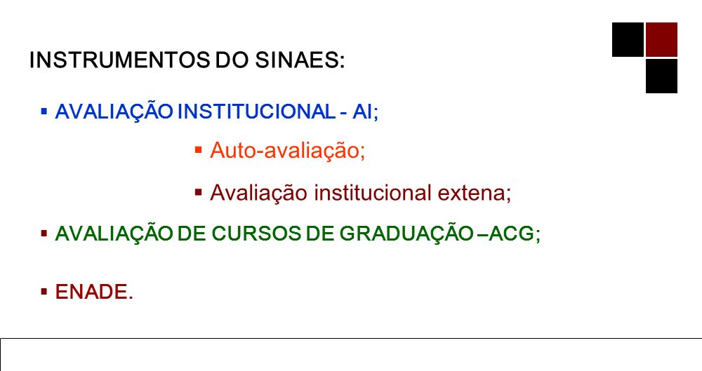 INSTRUMENTOS DO SINAES: