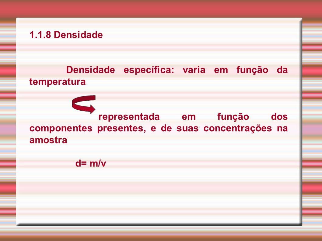 1.1.8 Densidade Densidade específica: varia em função da temperatura.