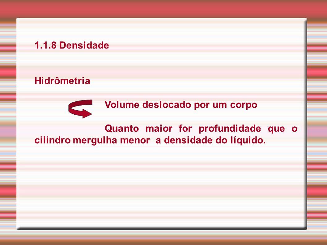 1.1.8 Densidade Hidrômetria. Volume deslocado por um corpo.