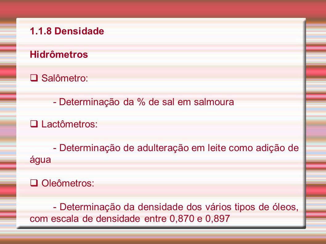 1.1.8 Densidade Hidrômetros. Salômetro: - Determinação da % de sal em salmoura. Lactômetros: