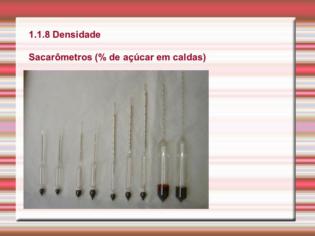1.1.8 Densidade Sacarômetros (% de açúcar em caldas)