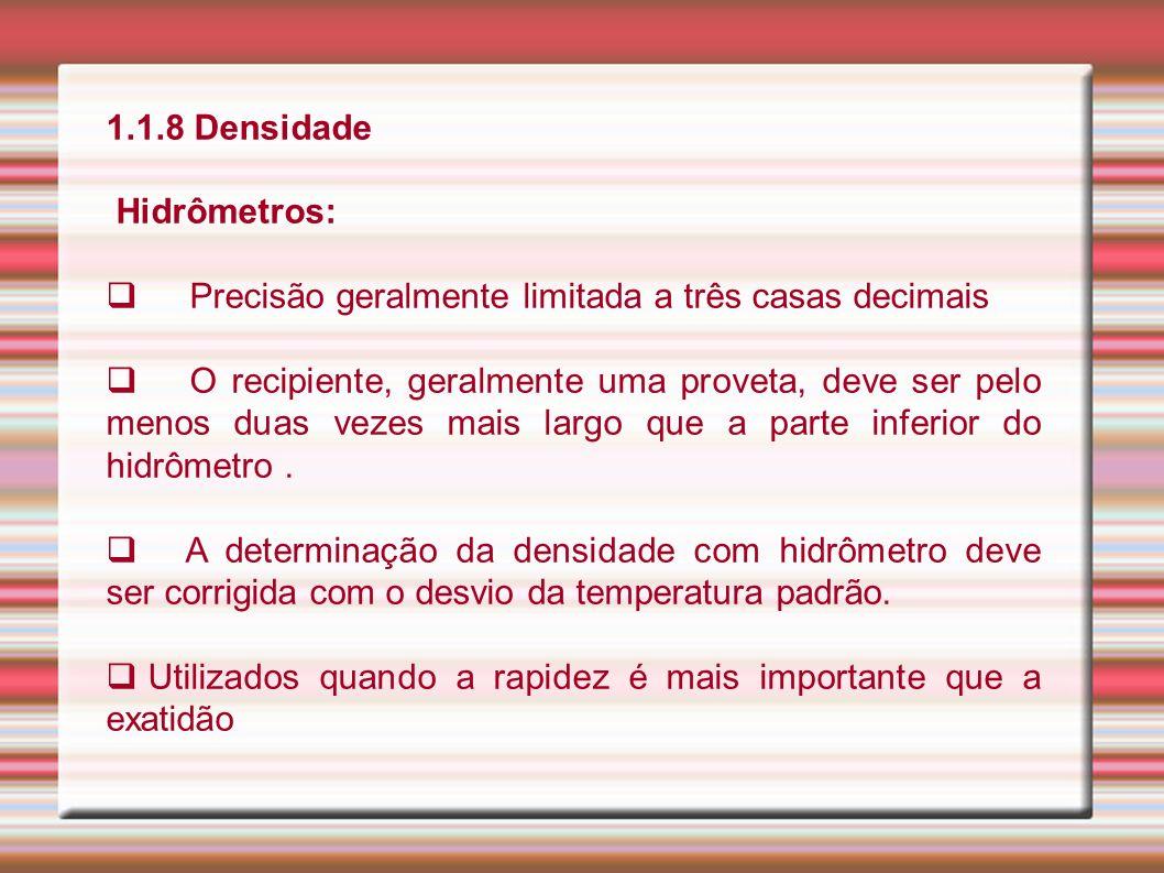 1.1.8 Densidade Hidrômetros: Precisão geralmente limitada a três casas decimais.