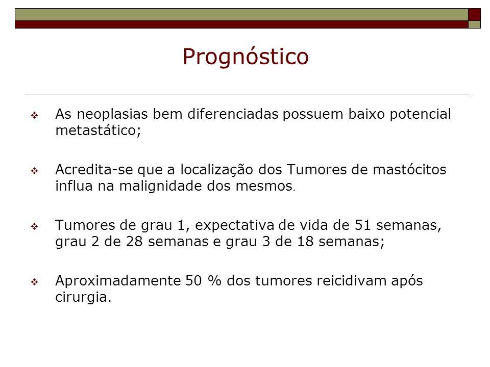 PrognósticoAs neoplasias bem diferenciadas possuem baixo potencial metastático;