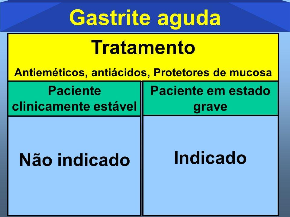 Gastrite aguda Tratamento Não indicado Indicado