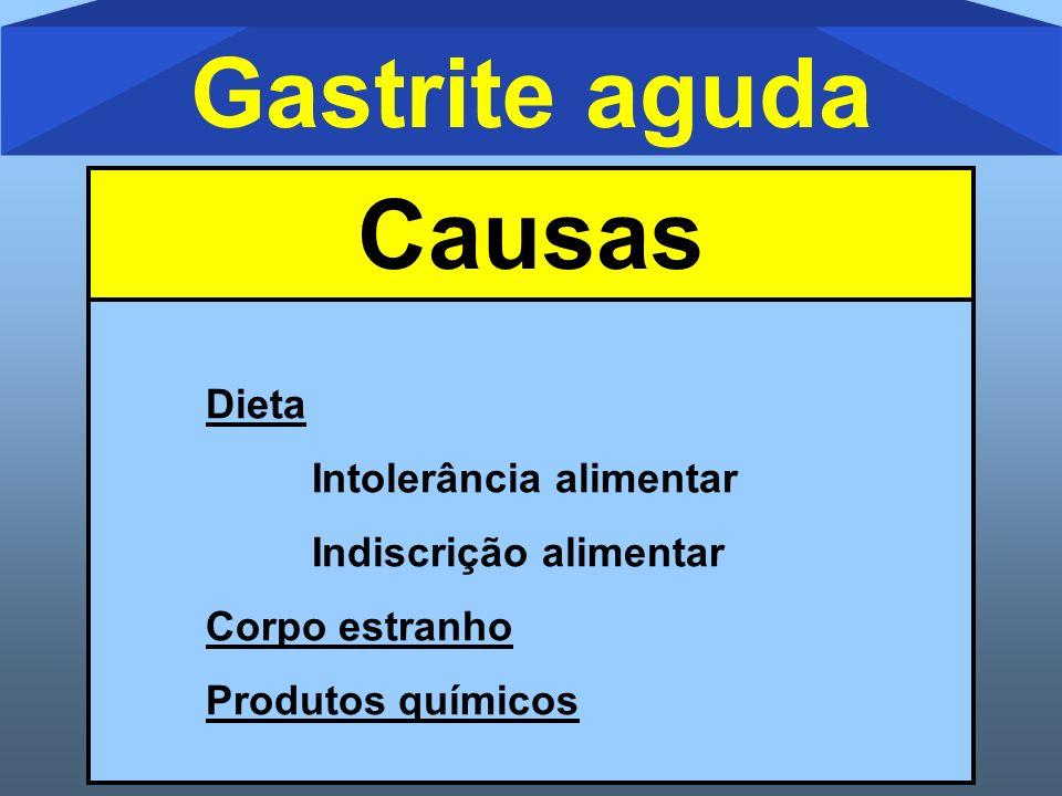 Gastrite aguda Causas Dieta Intolerância alimentar