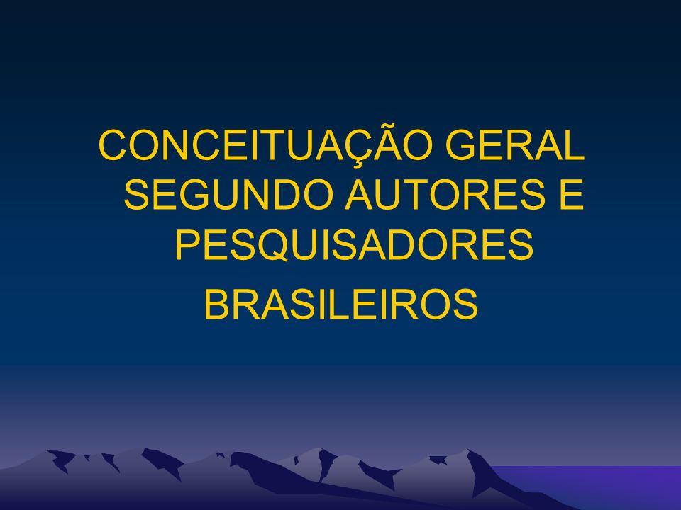 CONCEITUAÇÃO GERAL SEGUNDO AUTORES E PESQUISADORES