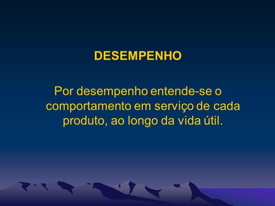 DESEMPENHO Por desempenho entende-se o comportamento em serviço de cada produto, ao longo da vida útil.