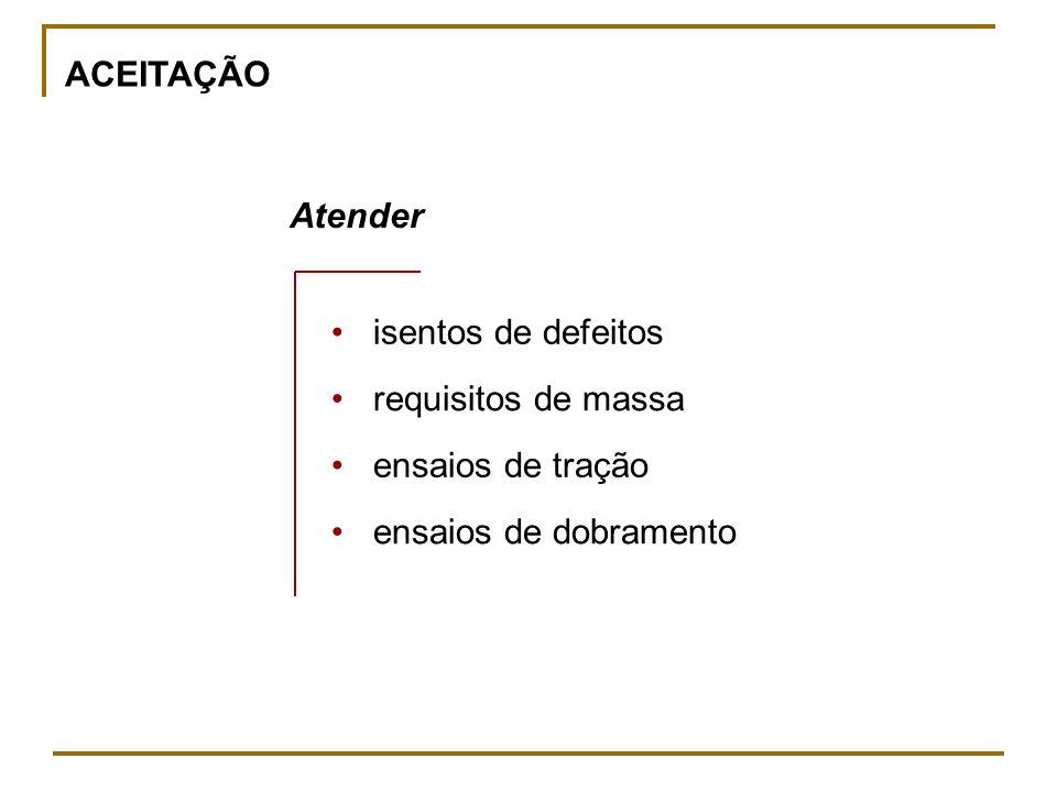 ACEITAÇÃO Atender. • isentos de defeitos. • requisitos de massa.