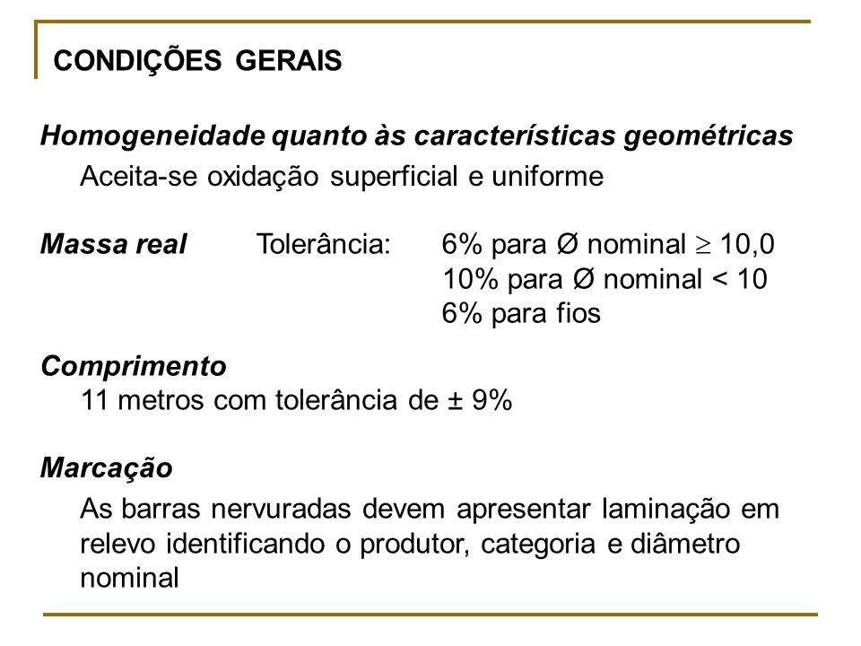 CONDIÇÕES GERAIS Homogeneidade quanto às características geométricas. Aceita-se oxidação superficial e uniforme.