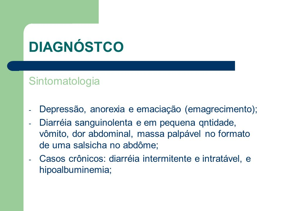DIAGNÓSTCO Sintomatologia