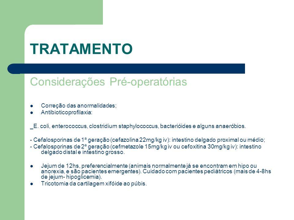 TRATAMENTO Considerações Pré-operatórias Correção das anormalidades;