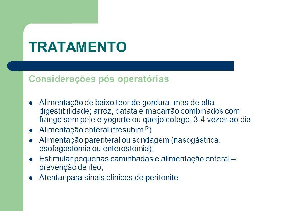 TRATAMENTO Considerações pós operatórias
