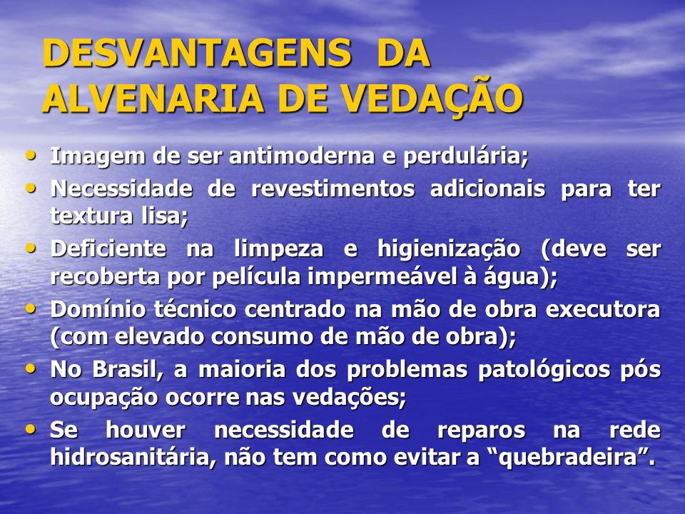 DESVANTAGENS DA ALVENARIA DE VEDAÇÃO
